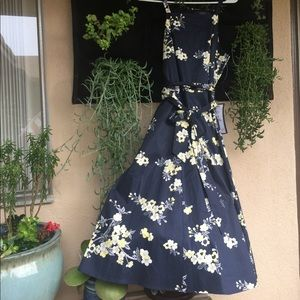 RACHEL RachelRoy Dress Navy w/Yellow Flowers